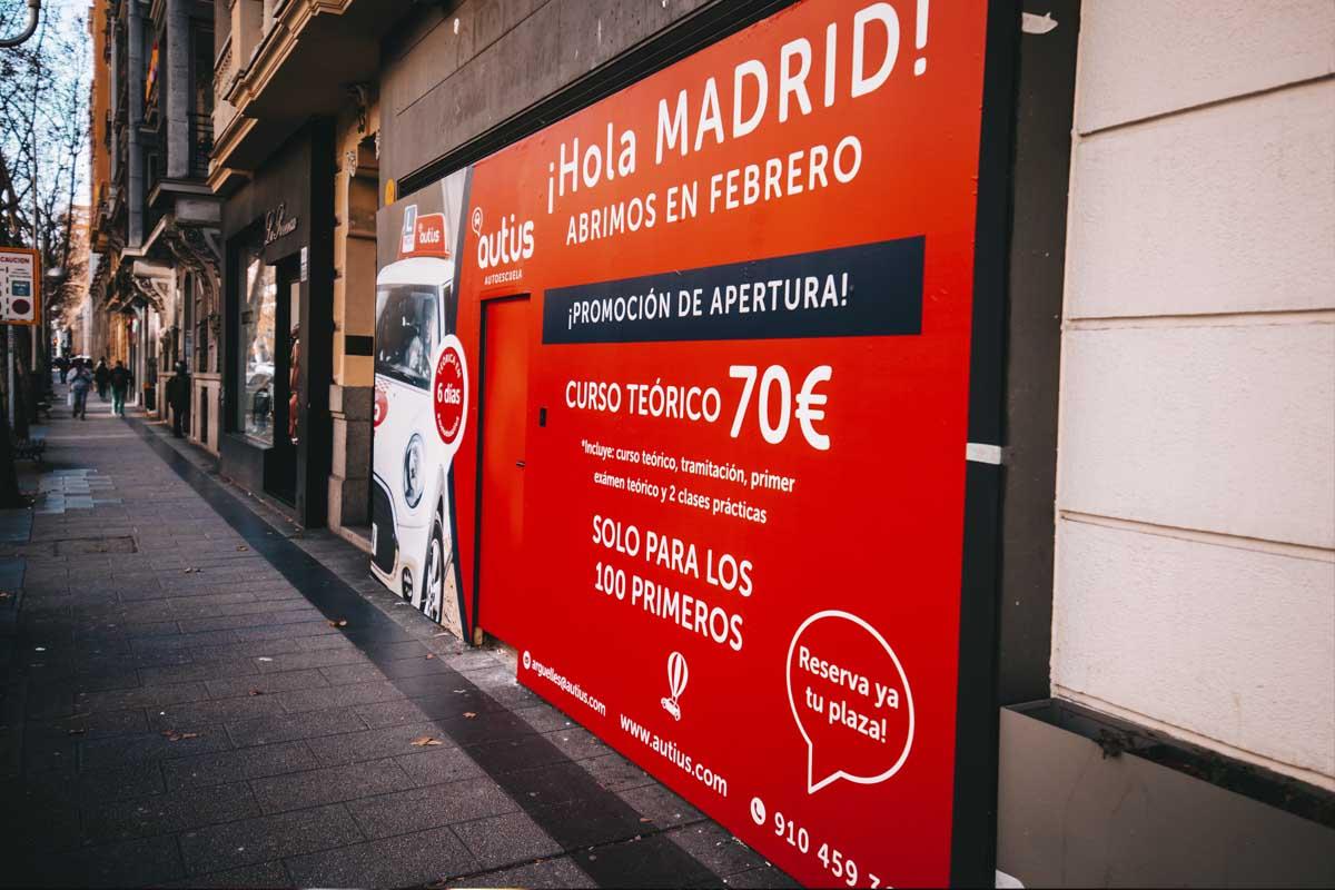 cabecera fachada apertura autius autoescuela Madrid Arguelles